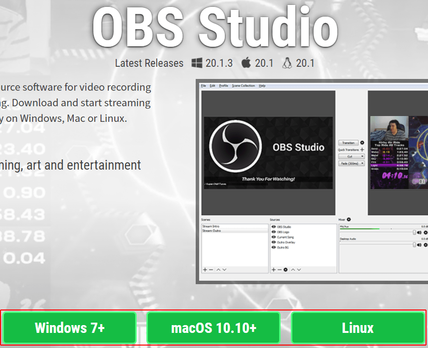 Downloading the OBS installer for different operating systems