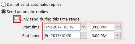 Set time range for auto-reply