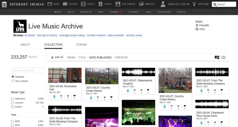The Live Music Archive section of The Internet Archive