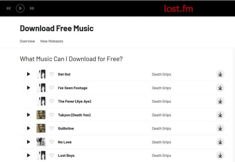 Last.fm free music downloads page