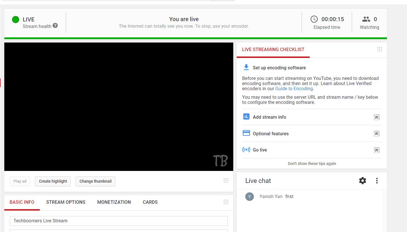 A sample live YouTube stream