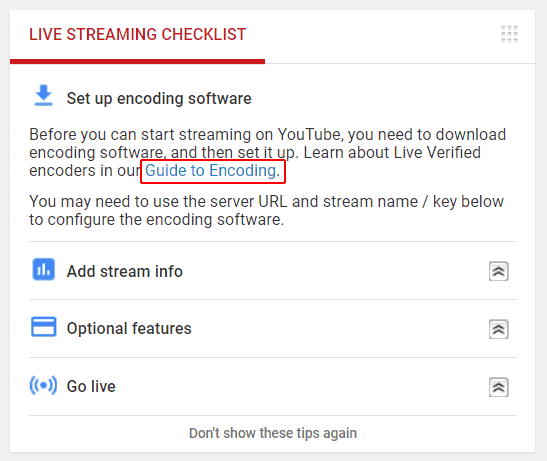 Checklist for live streaming on YouTube