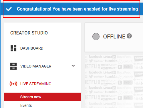 Live streaming successfully enabled