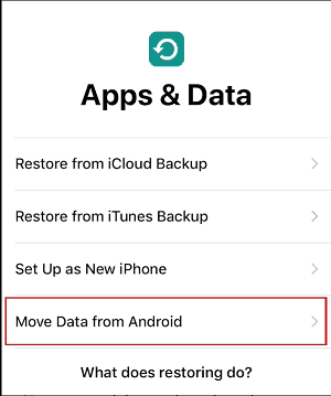 Move Data from Android button