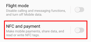 NFC enabled toggle