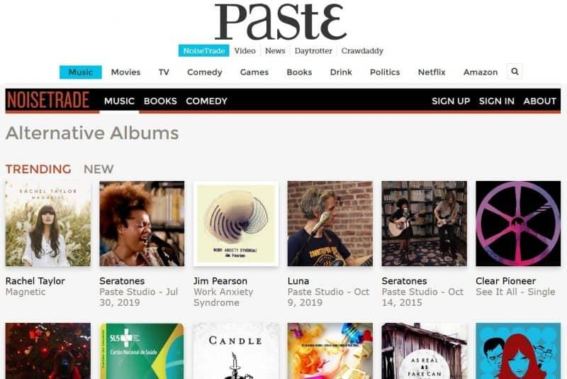 NoiseTrade alternative music genre section