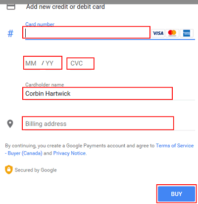 Pay for Google purchase