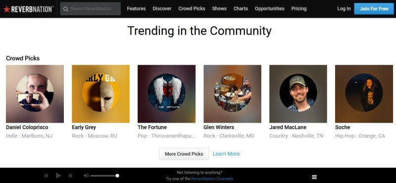 ReverbNation home page with trending artists