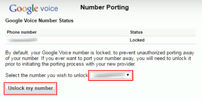 Select Google Voice number to unlock