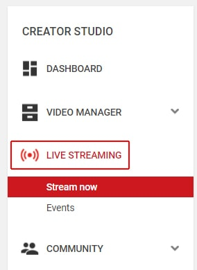 Open live streaming options