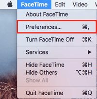 Access FaceTime preferences