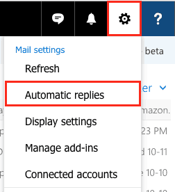 Access automatic reply options on the web