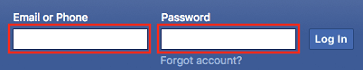 Facebook account sign in screen