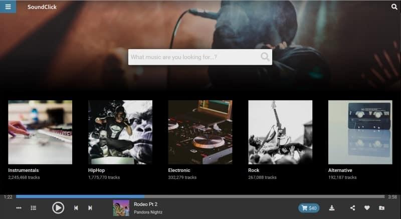SoundClick home page