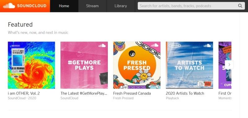 SoundCloud home page