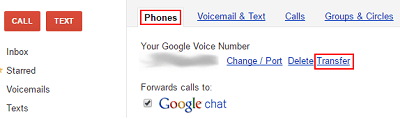 Transfer Google Voice number