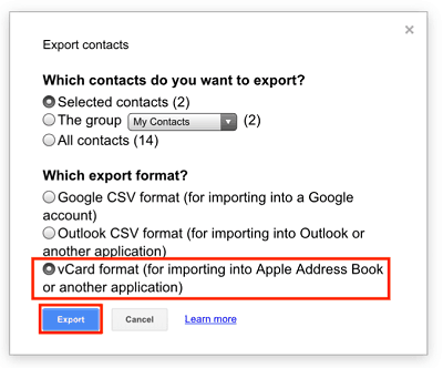vCard Export button