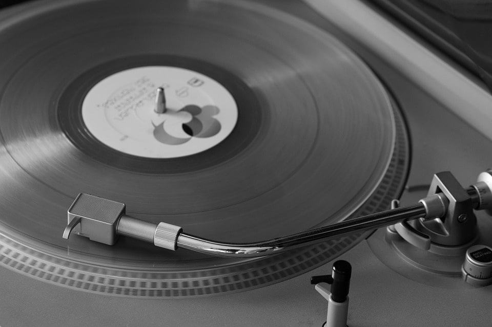A turntable playing a vinyl record