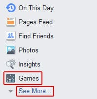 Go to the Games section of Facebook