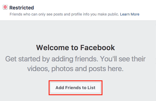 Add Facebook friends to a list