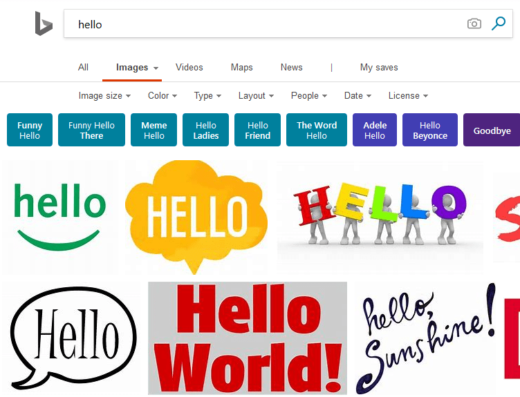 Screenshot of Bing Image Search