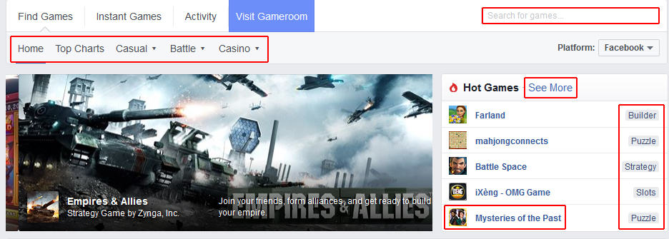 Browse all games available on Facebook