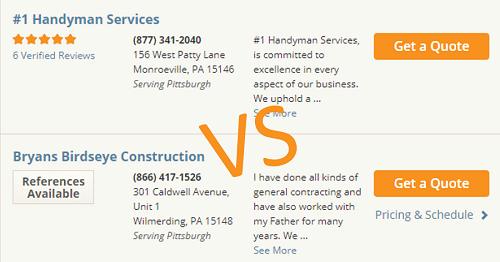 Comparison of contractors