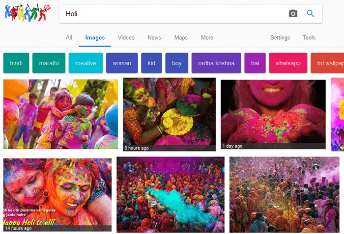 Screenshot of Google Image Search