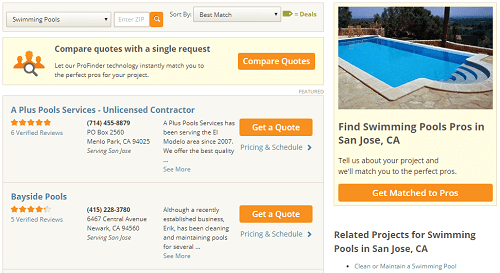 Reviews of contractors on HomeAdvisor