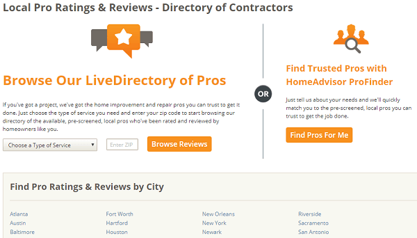 HomeAdvisor website