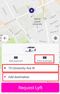 Choosing a pick-up and drop-off point, and getting a fare estimate