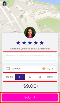Rating and tipping a driver from a ridesharing service
