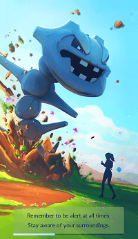 Message in Pokemon Go urging players to stay alert