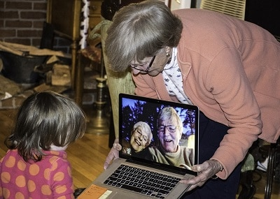 Video chatting with grandparents on Skype