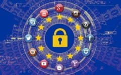 EU flag with lock and popular website logos