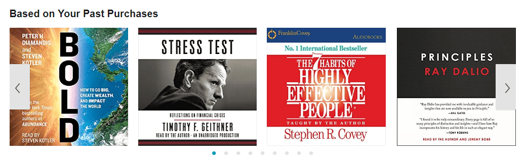 Audible recommends books based on your past purchases