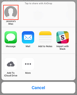 Exporting a voicemail through AirDrop