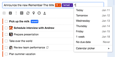 Adding a reminder tag to a task in Remember The Milk