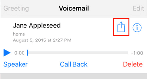 Button for exporting a voicemail