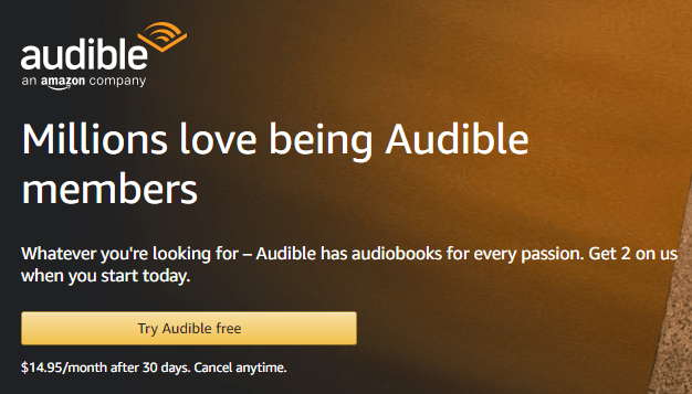 Button for getting a free trial of Audible.com