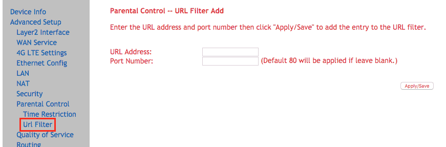 Accessing URL filtering options for your router