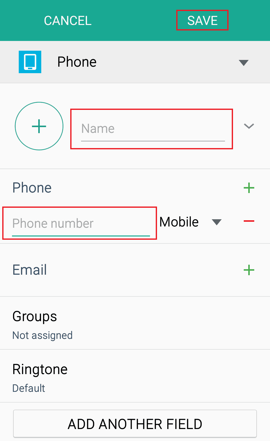 Adding details to an Android contact and saving the information