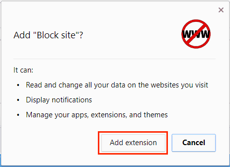 Confirm adding an extension to Chrome after reading its permissions