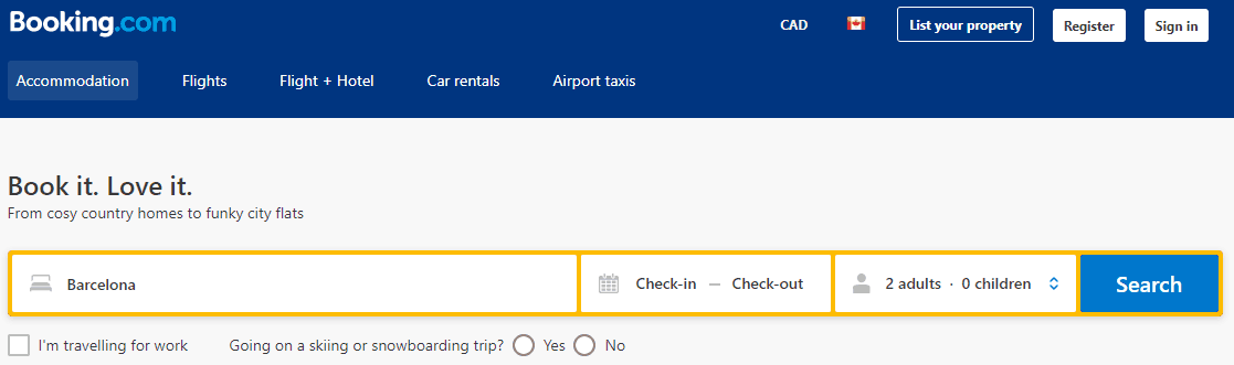 Screenshot of Booking.com home page