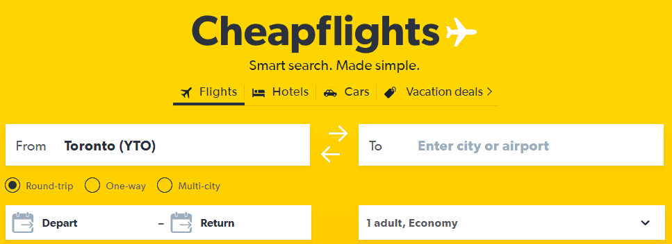 Screenshot of Cheapflights home page