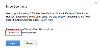 Choose to import contacts through a CSV or vCard file