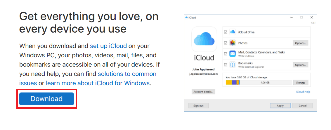 Download the iCloud program for Windows