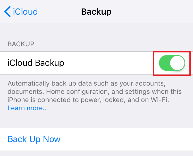 Turning on iCloud backup
