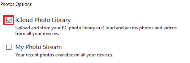 Enabling syncing of your PC's photo library to iCloud