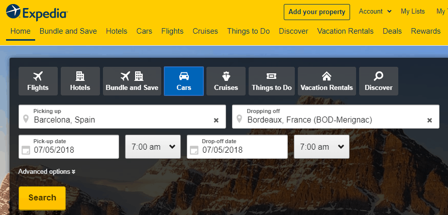 Screenshot of Expedia home page